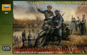 German R-12 Heavy Motorcycle With Rider and Officer (WW II)